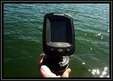Getting the portable Humminbird Fishfinder ready