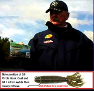 Dan shows a bag of soft plastic baits