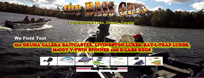 theBASSguys work the Okuma Calera Baitcasster Reel, Livingston Lures, Rat-L-trap Lures, McCoy V-Twin Spinner and K-Labs Rods